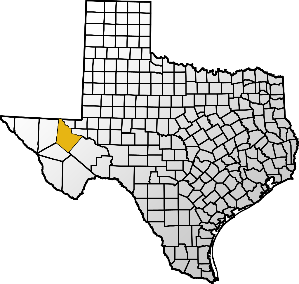 Map showing Reeves location within the state of Texas